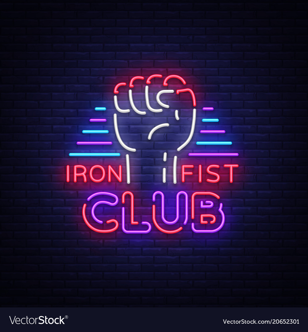 Fight club logo in neon style iron fist club is a