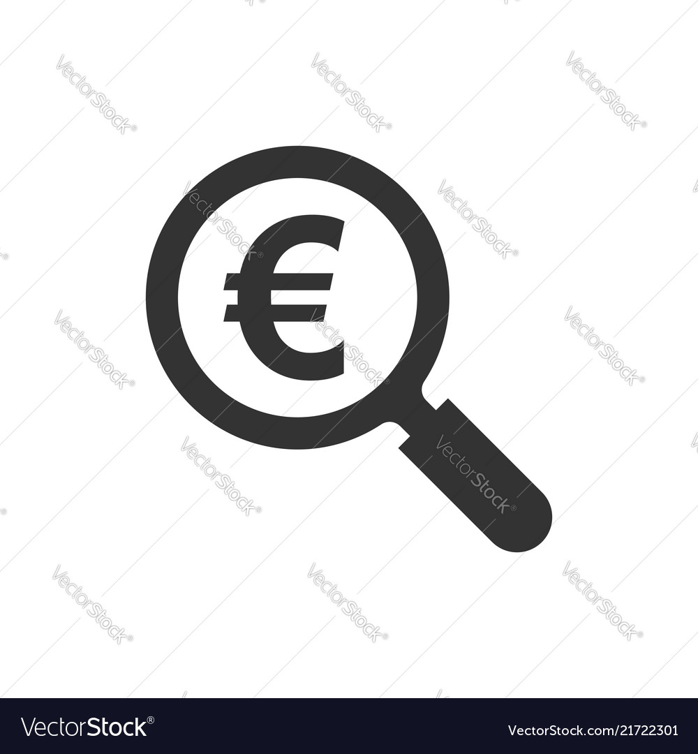 Magnify glass with euro sign icon in flat style
