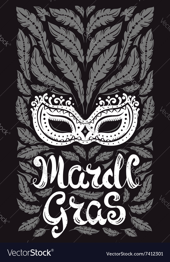 Mardi Gras celebration poster with venetian mask