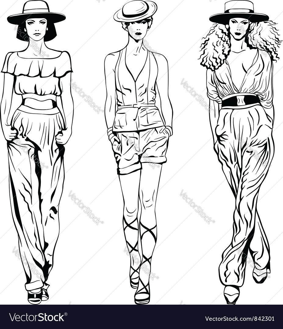 Set fashion top models in trouser suits
