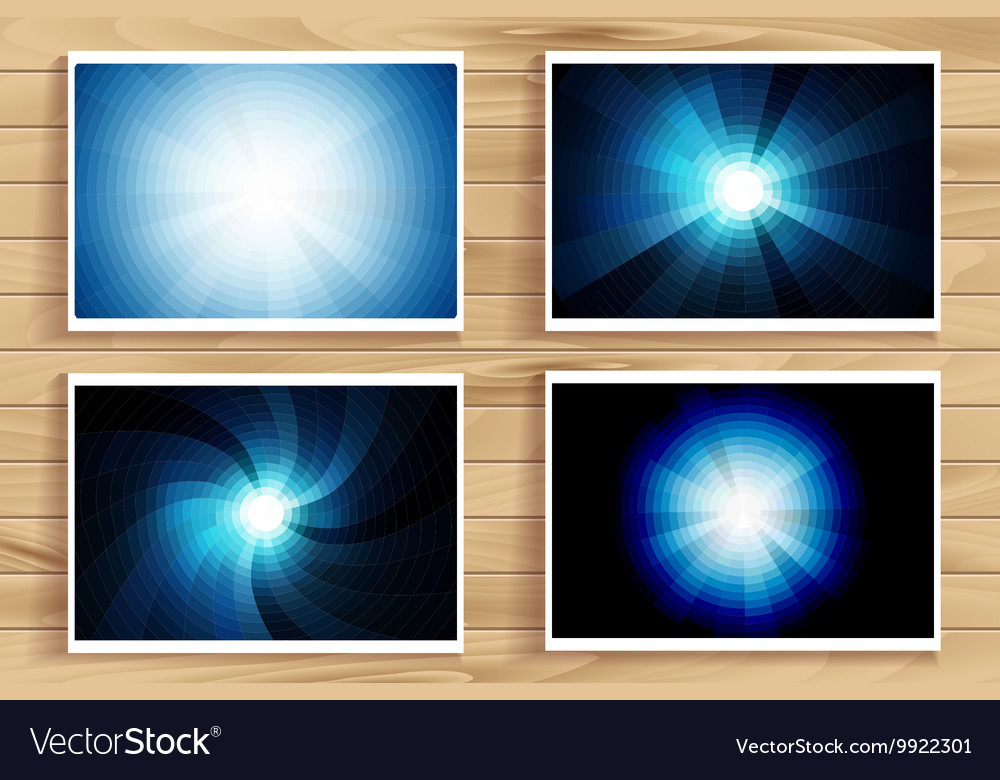 Set of blue flares on wooden background