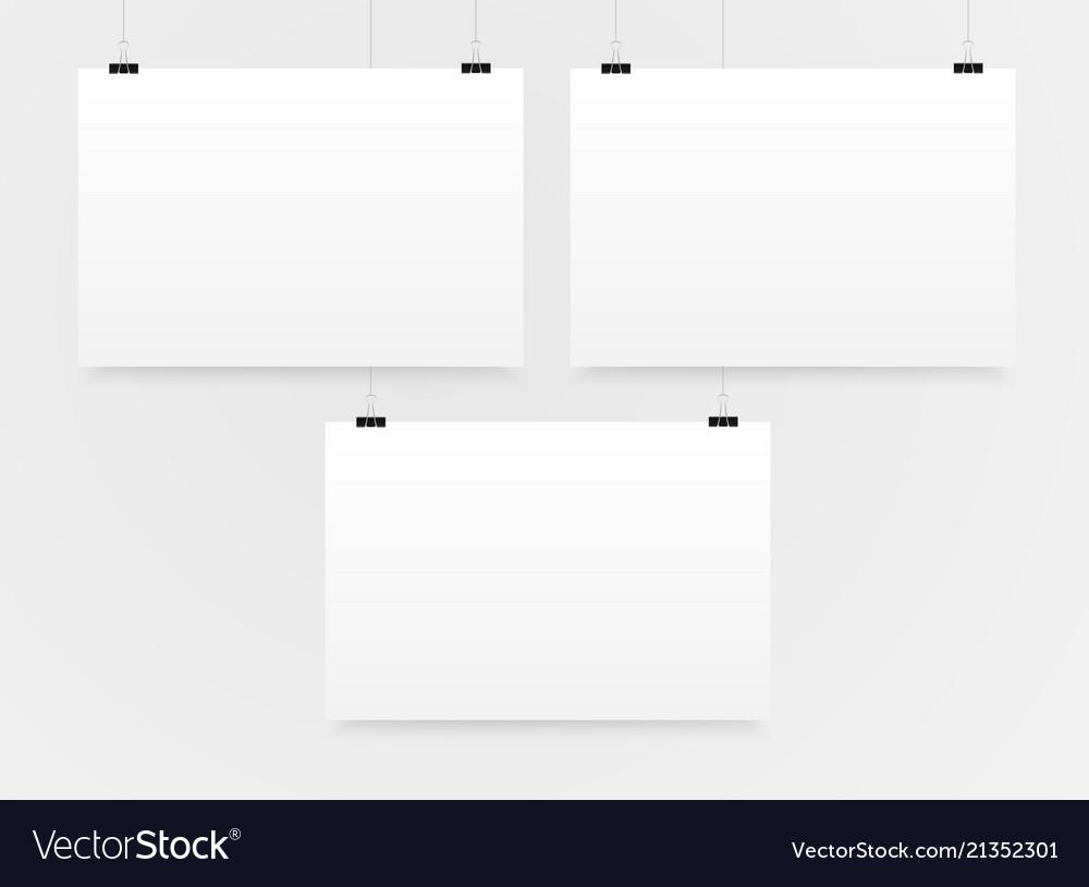 Three horizontal poster mockup a4 mock-up