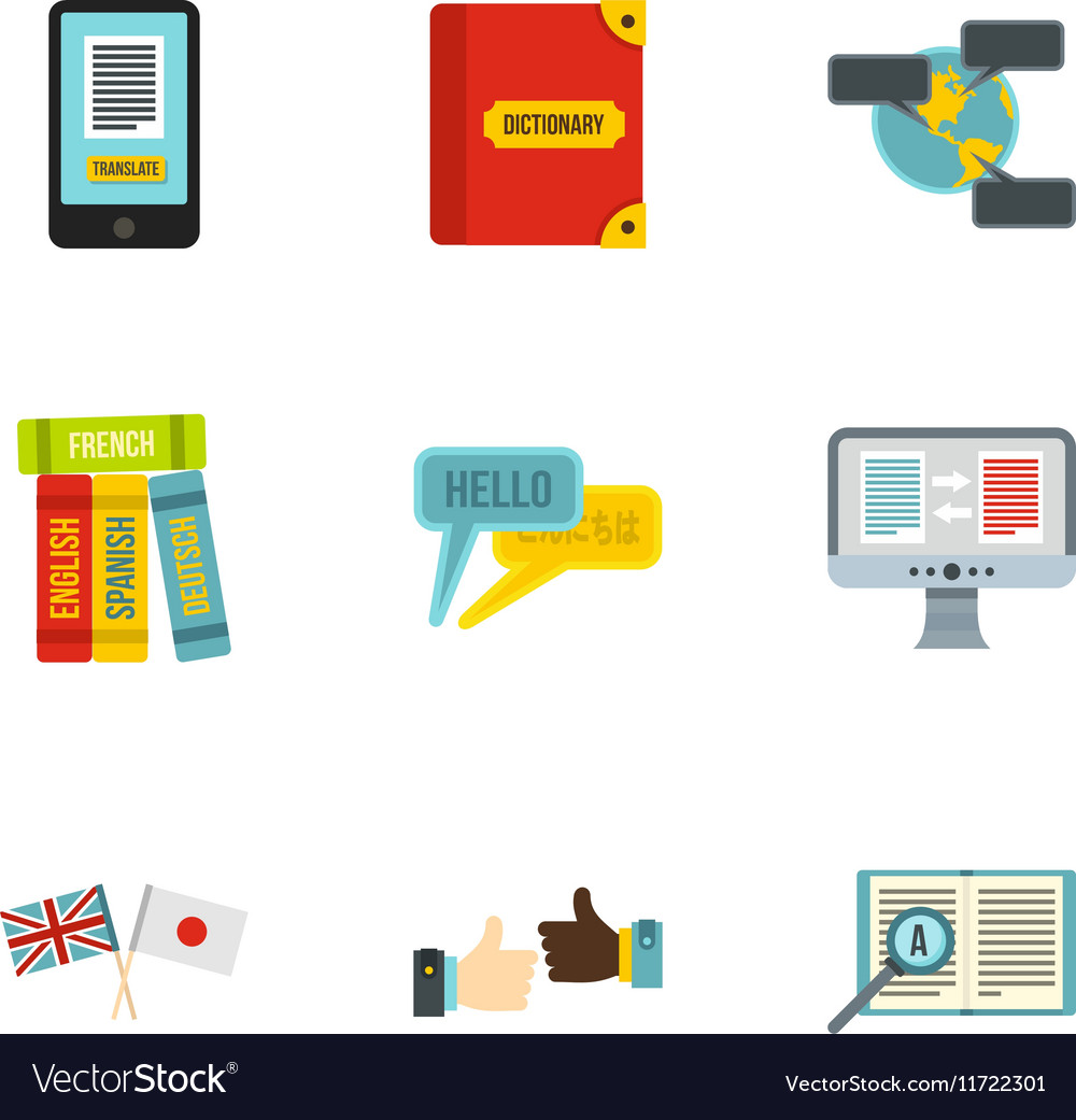 Translation icons set flat style vector image