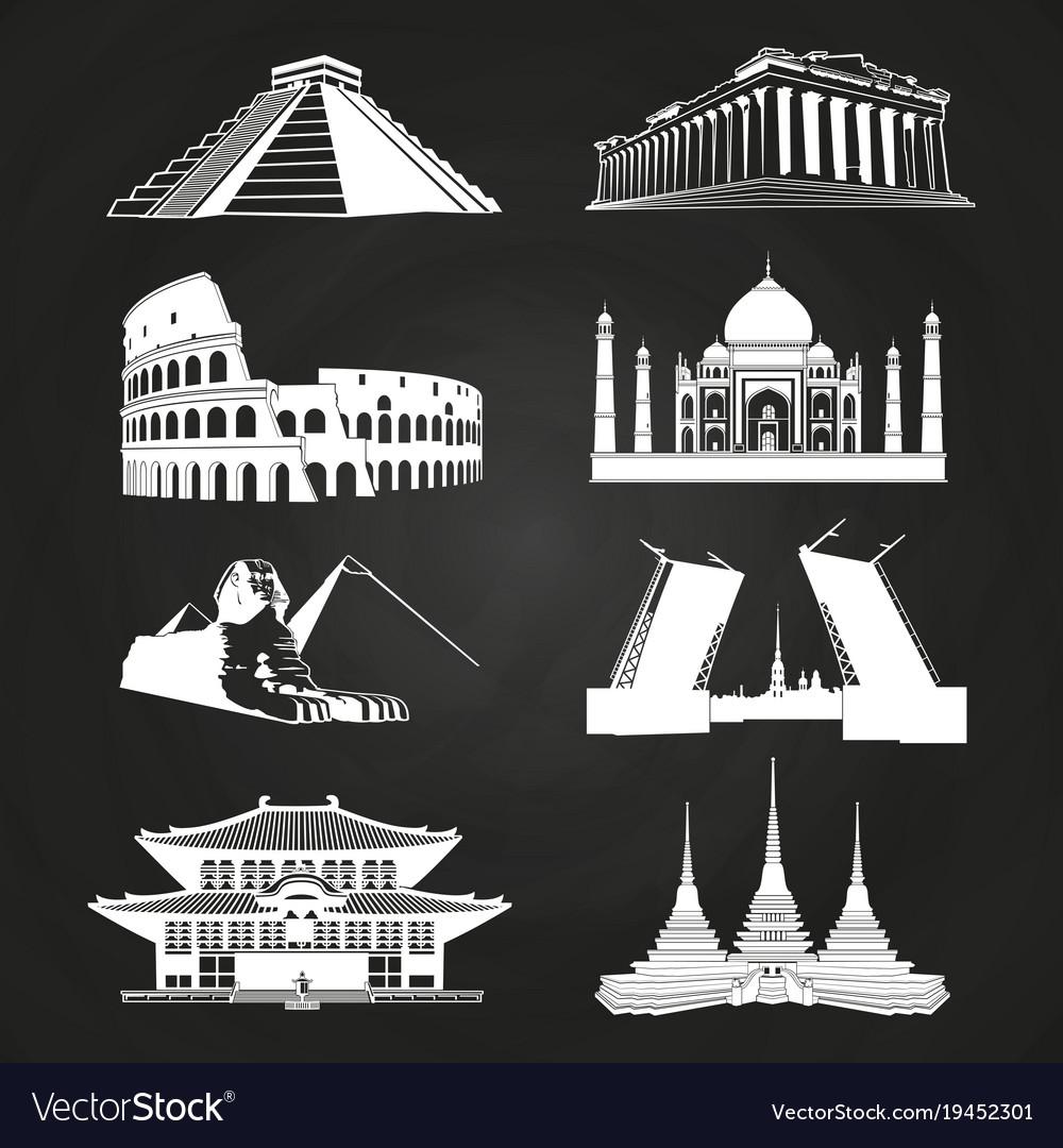 White silhouettes famous landmarks