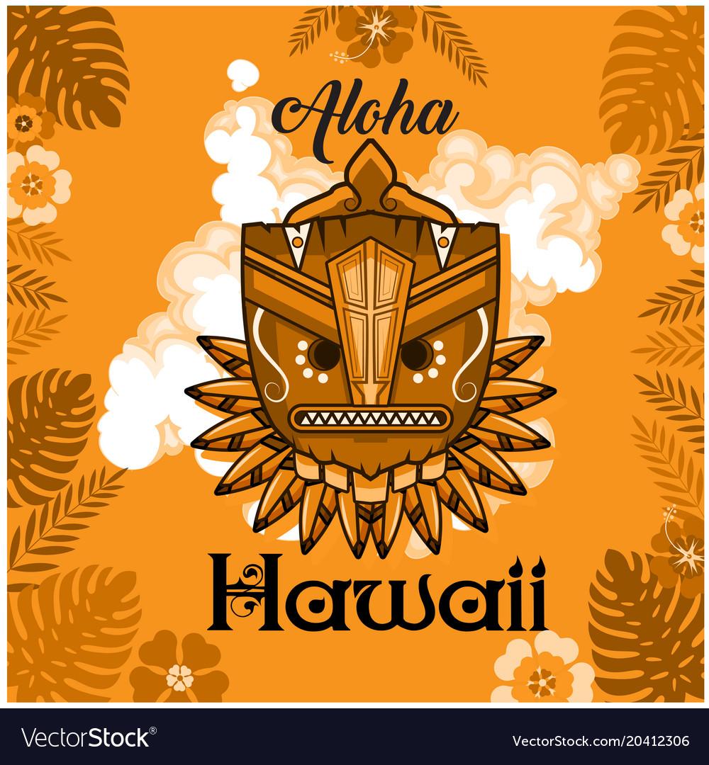 Aloha hawaii tribal mask leaves orange background