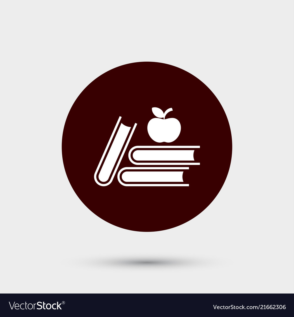 Books with apple icon simple school element