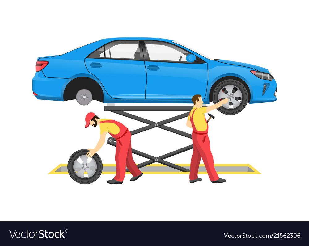 Car repair process colorful