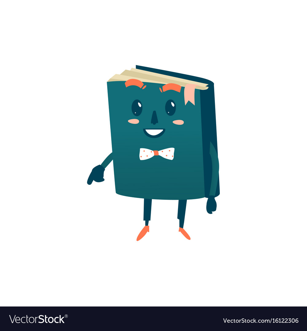 Cartoon smiling humanized book in bowtie
