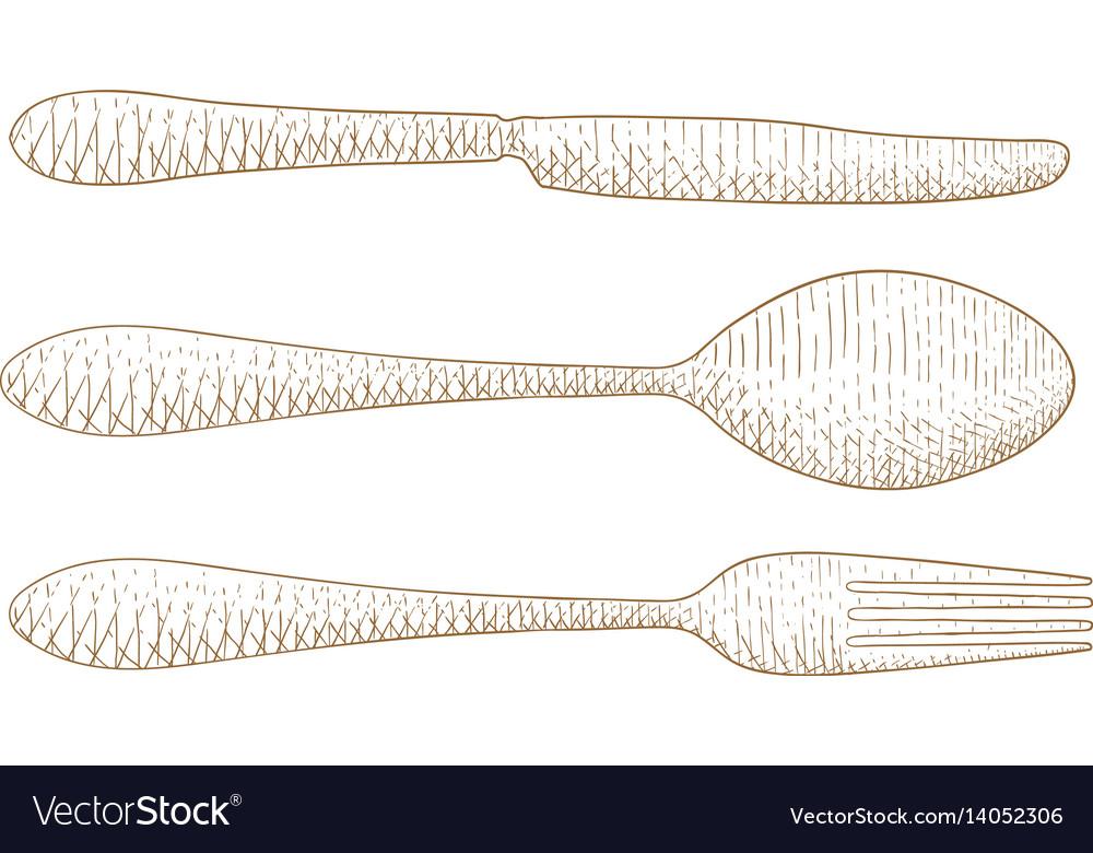 Cutlery set hand drawn sketch vector image