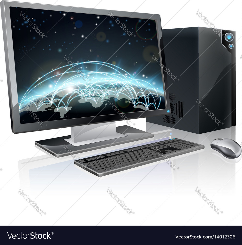 Desktop computer world globe vector image
