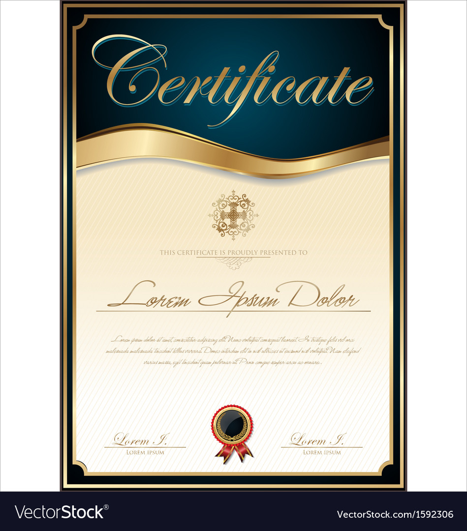 elegant blue certificate template royalty free vector image