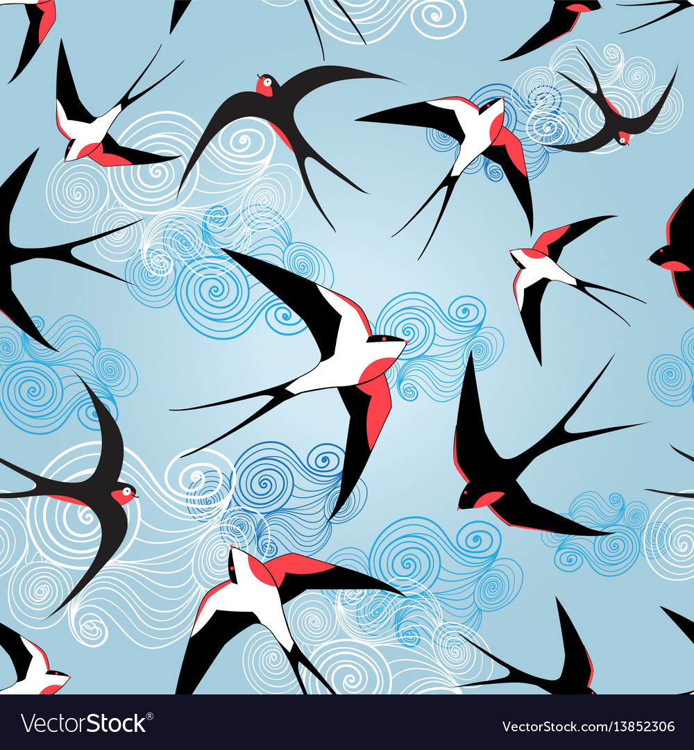 Graphic pattern with swallows