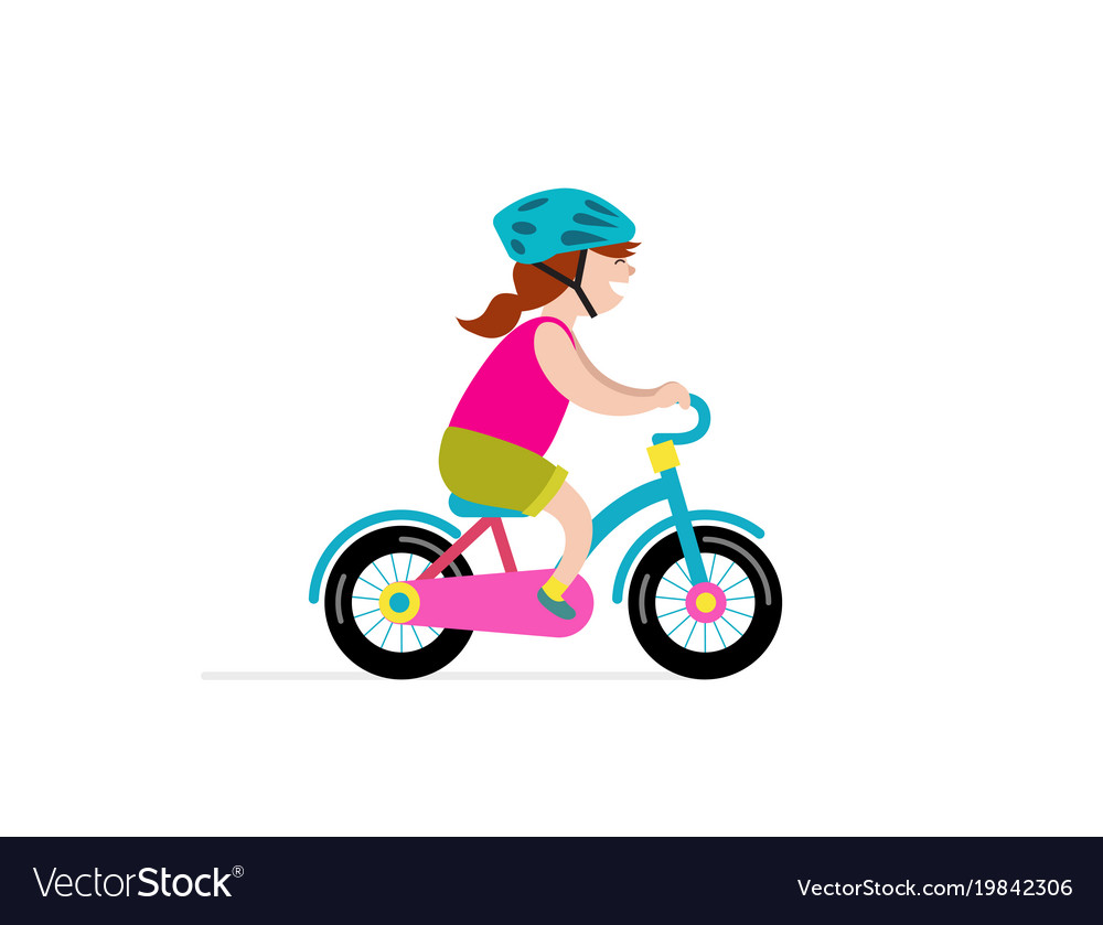 Happy girl riding small bicycle vector image