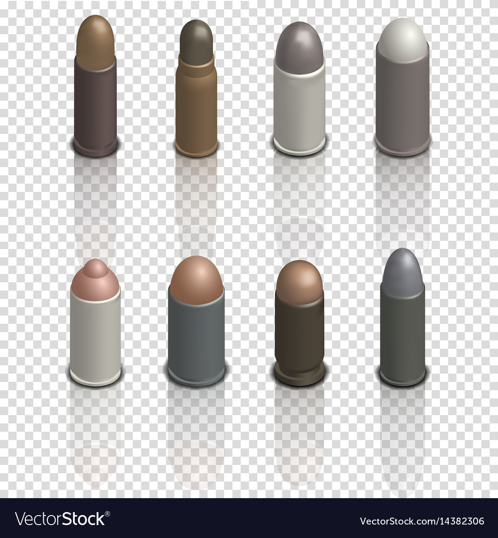 Photorealistic cartridges with a bullet isometric