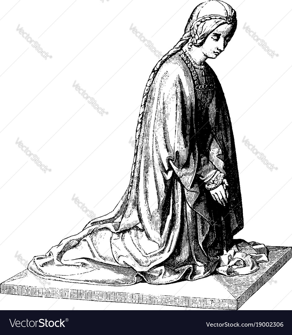 Sculpture was shows a kneeling figure vintage