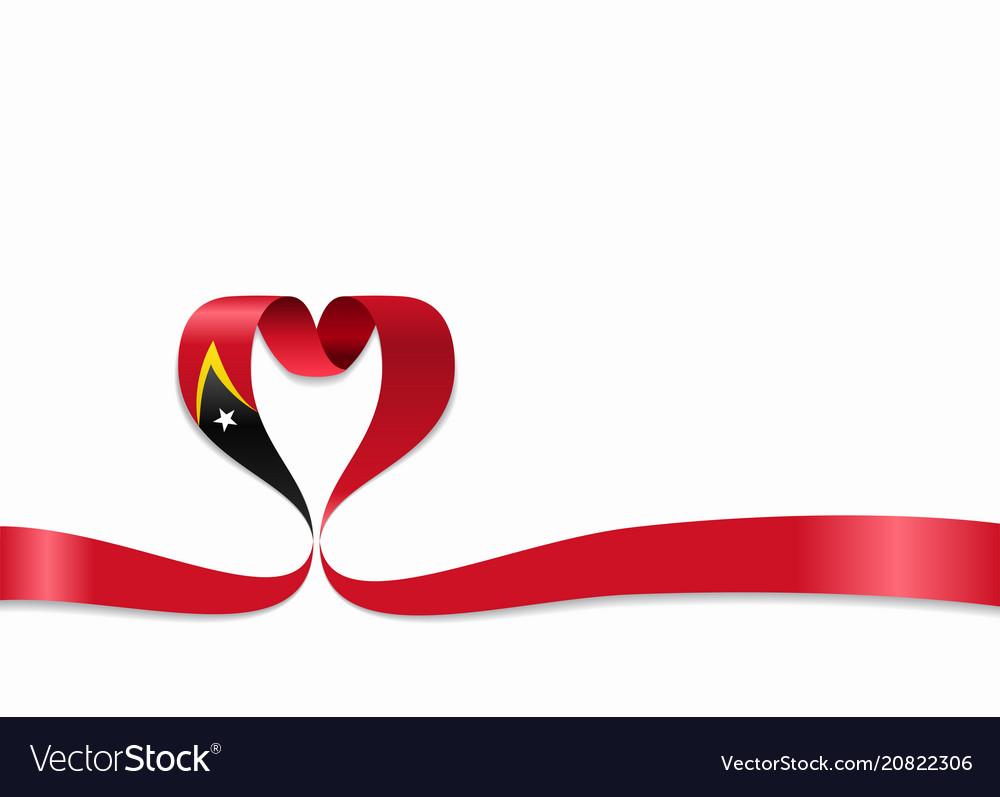 Timor-leste flag heart-shaped ribbon