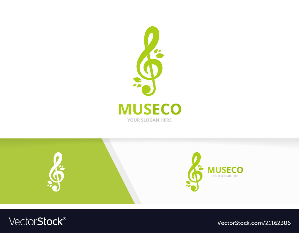 Treble clef and leaf logo combination