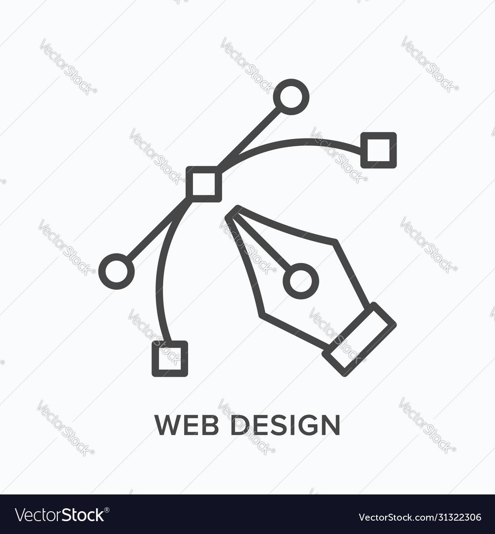 Web design flat line icon outline