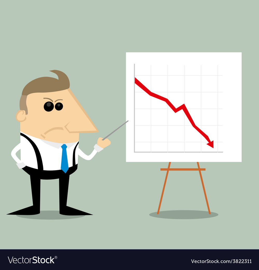 Angry Cartoon businessman with presentation graph