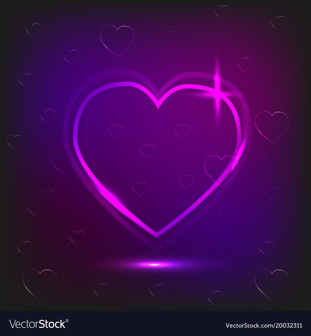 background of neon heart and small hearts on a vector image