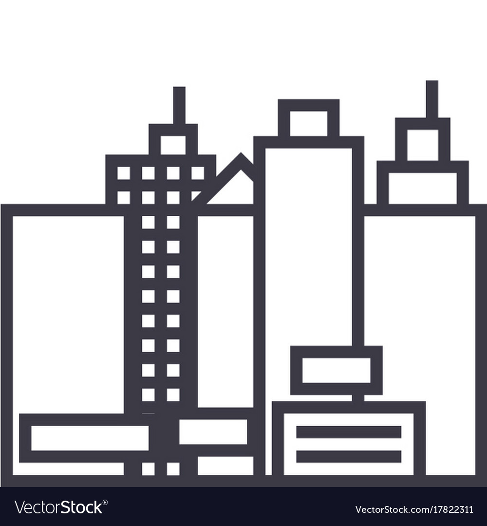 Citynew town line icon sign vector image