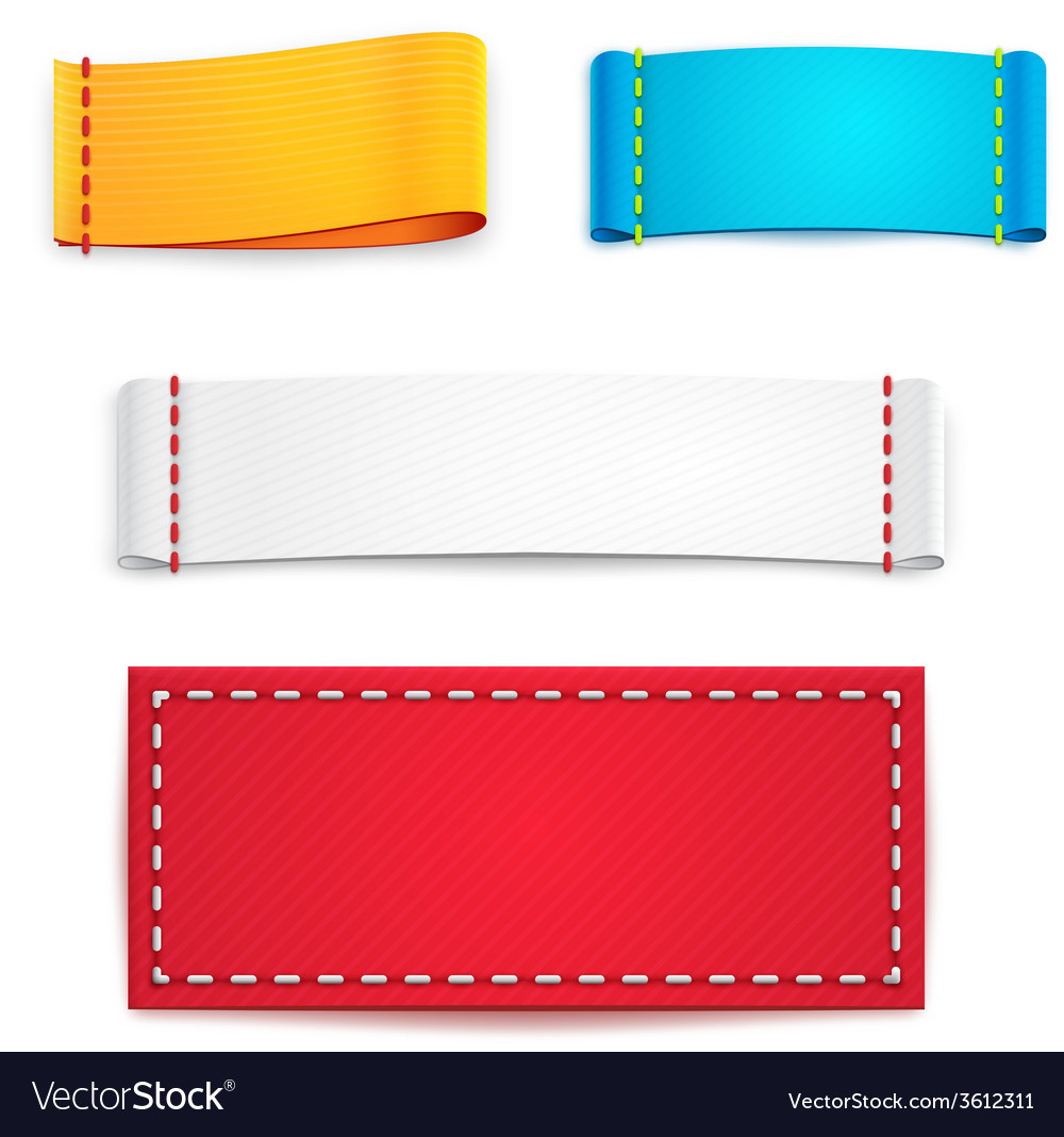 Colorful Blank Fabric Labels or Badges vector image