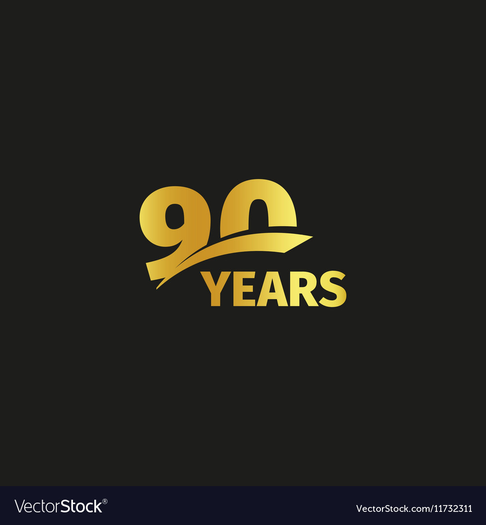 Isolated abstract golden 90th anniversary logo on
