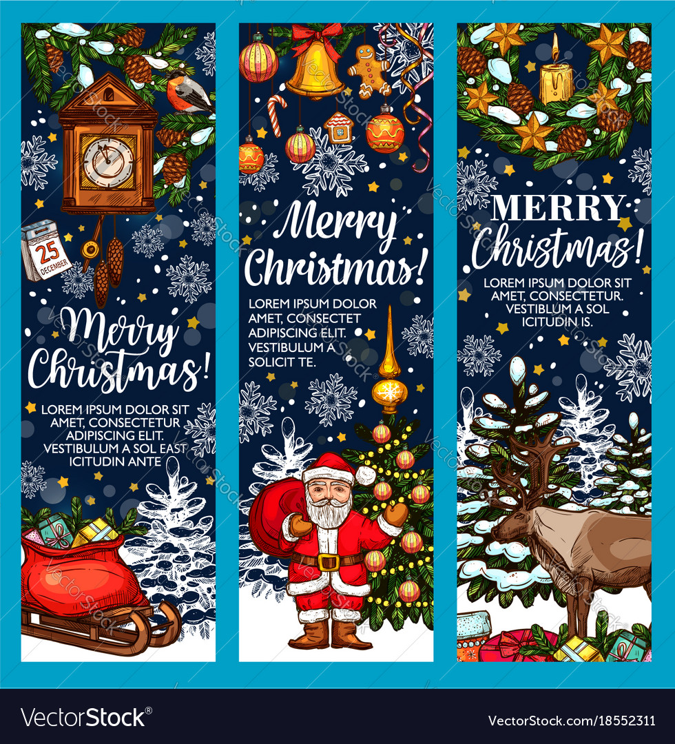 Merry christmas sketch greeting banners
