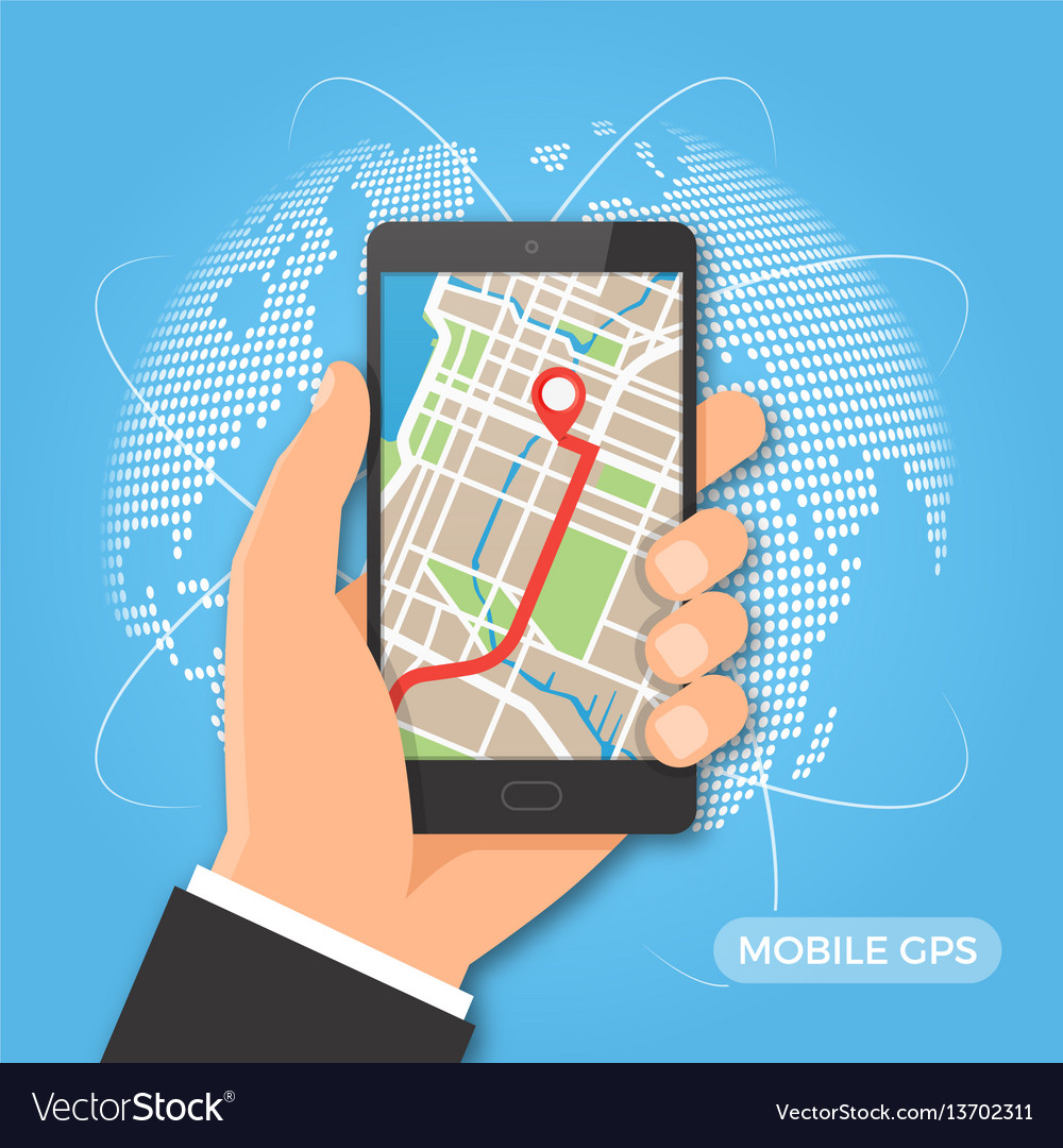 Mobile gps navigation and tracking concept vector image