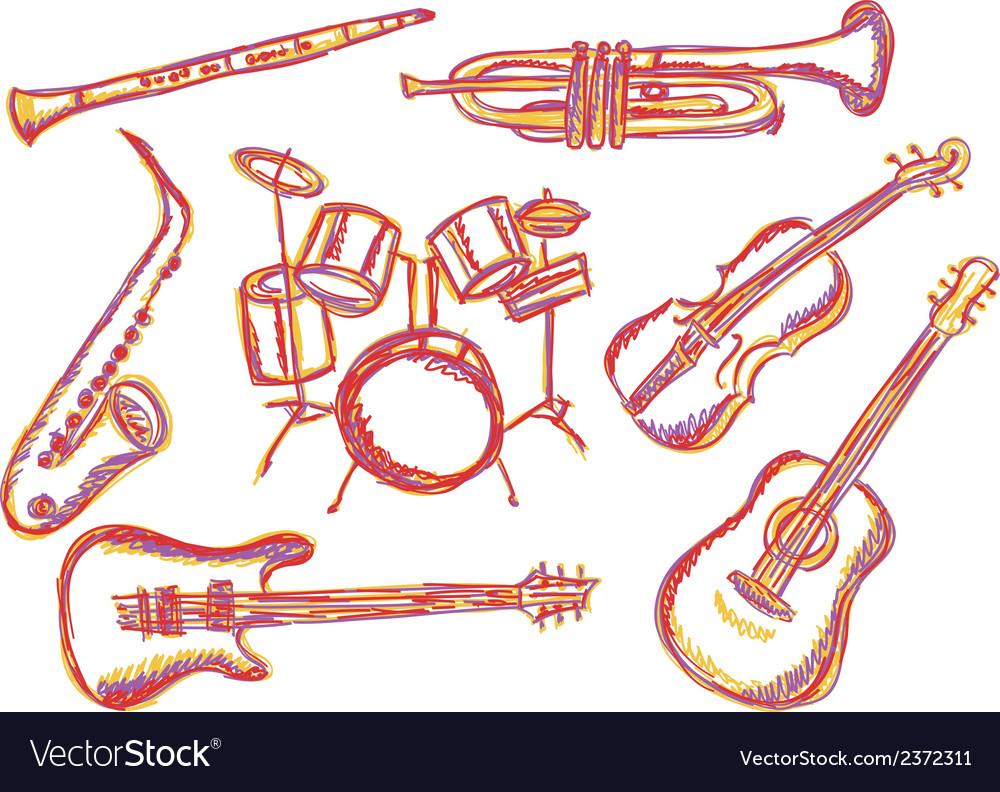 Music instruments doodles vector image