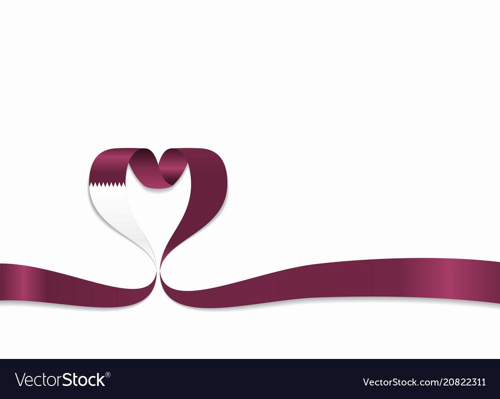 Qatari flag heart-shaped ribbon