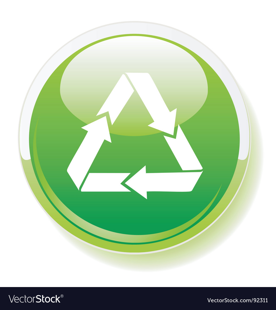 Recycling symbol on green button vector image