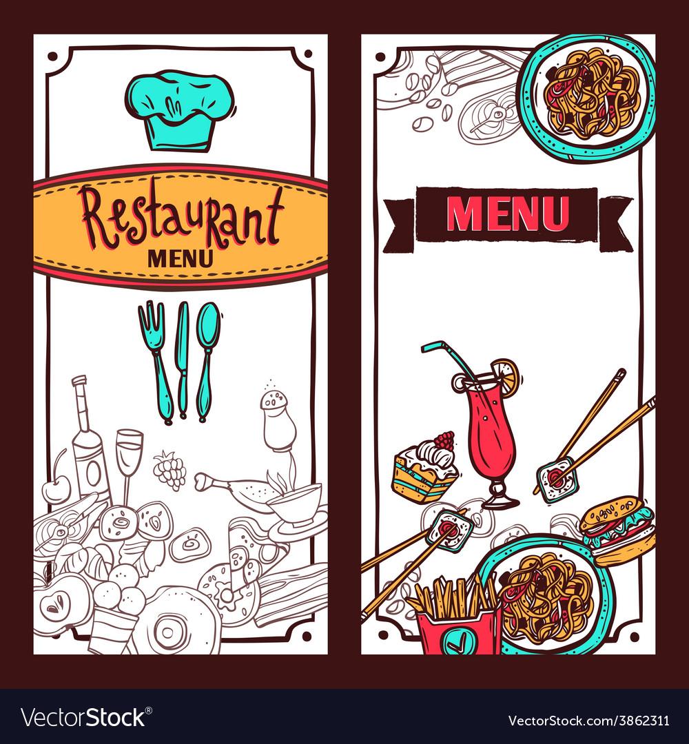 Restaurant menu food banners set vector image