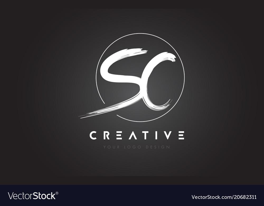 Sc brush letter logo design artistic handwritten