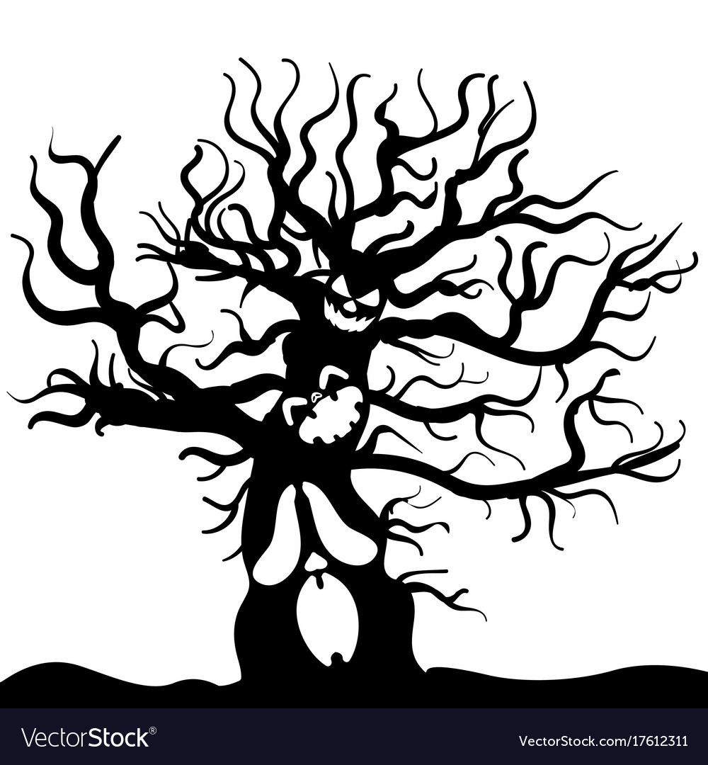 scary tree monster sketch halloween royalty free vector