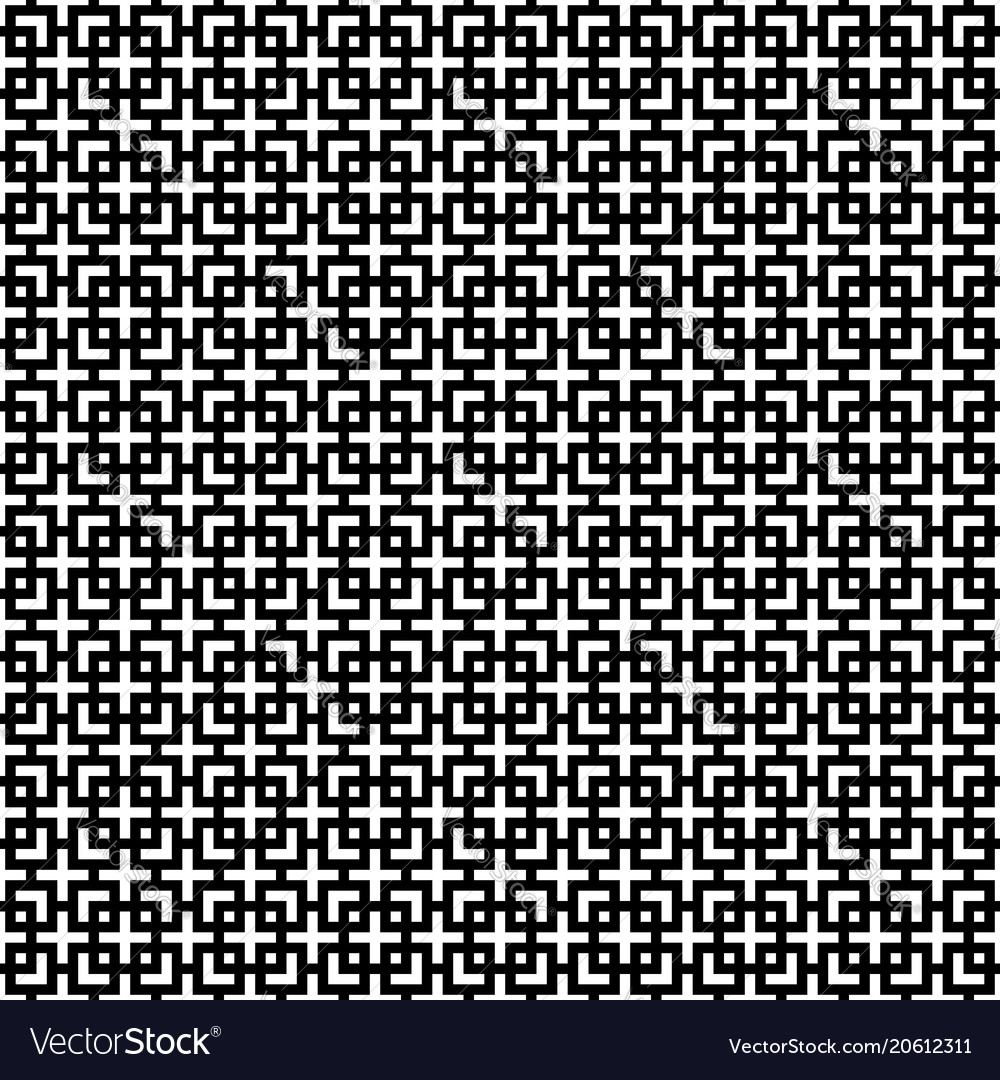 Seamless pattern of crosses of corners and squares