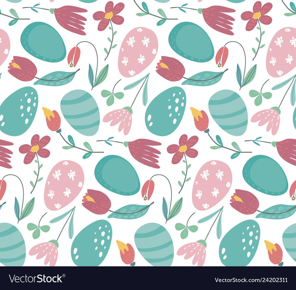 Seamless pattern with easter eggs and
