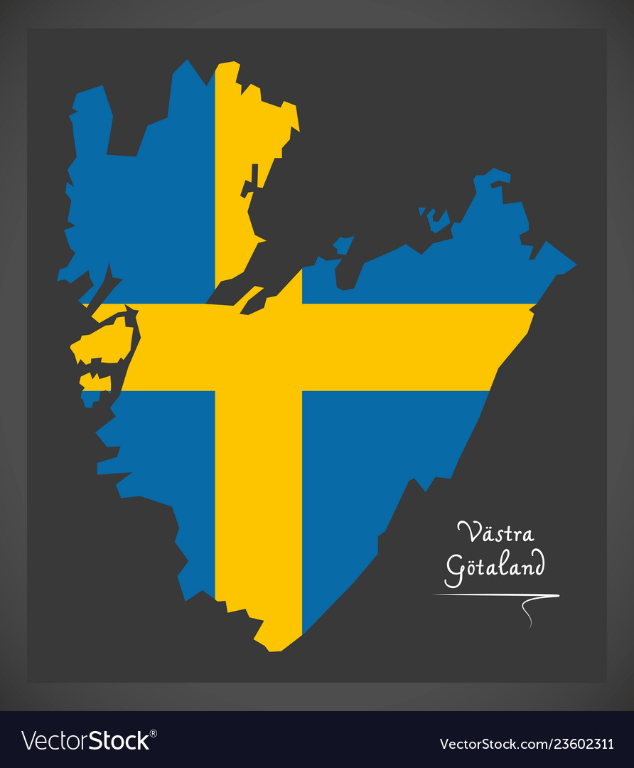 Vastra Gotaland Map Of Sweden With Swedish Vector Image