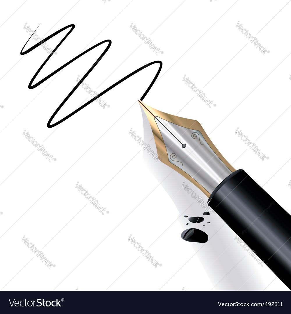 Writing fountain pen vector image