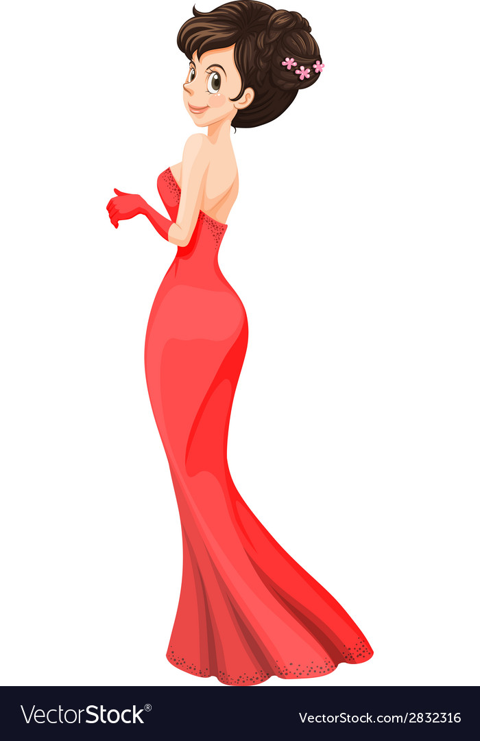 A Lady Wearing A Cocktail Dress Vector Art Download