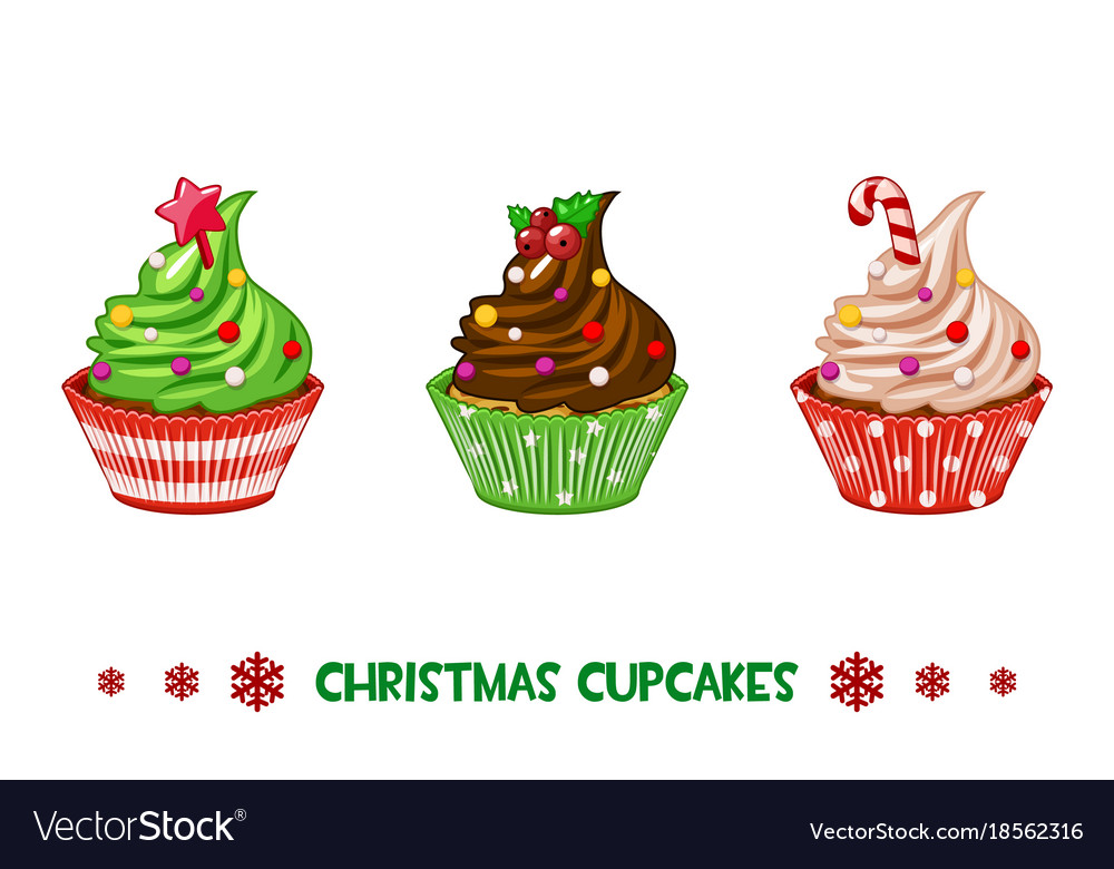 Cartoon cupcakes merry christmas