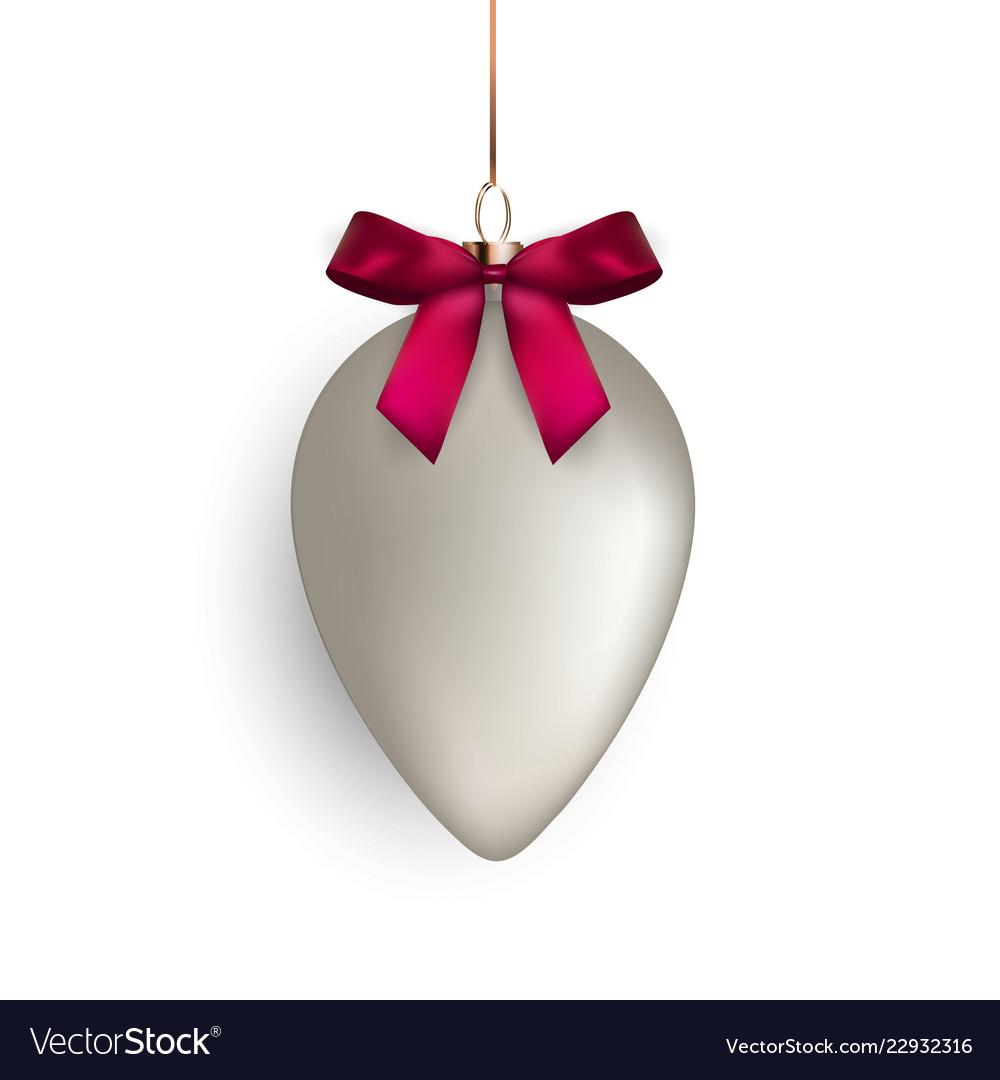 Christmas ball with ball and ribbon on white