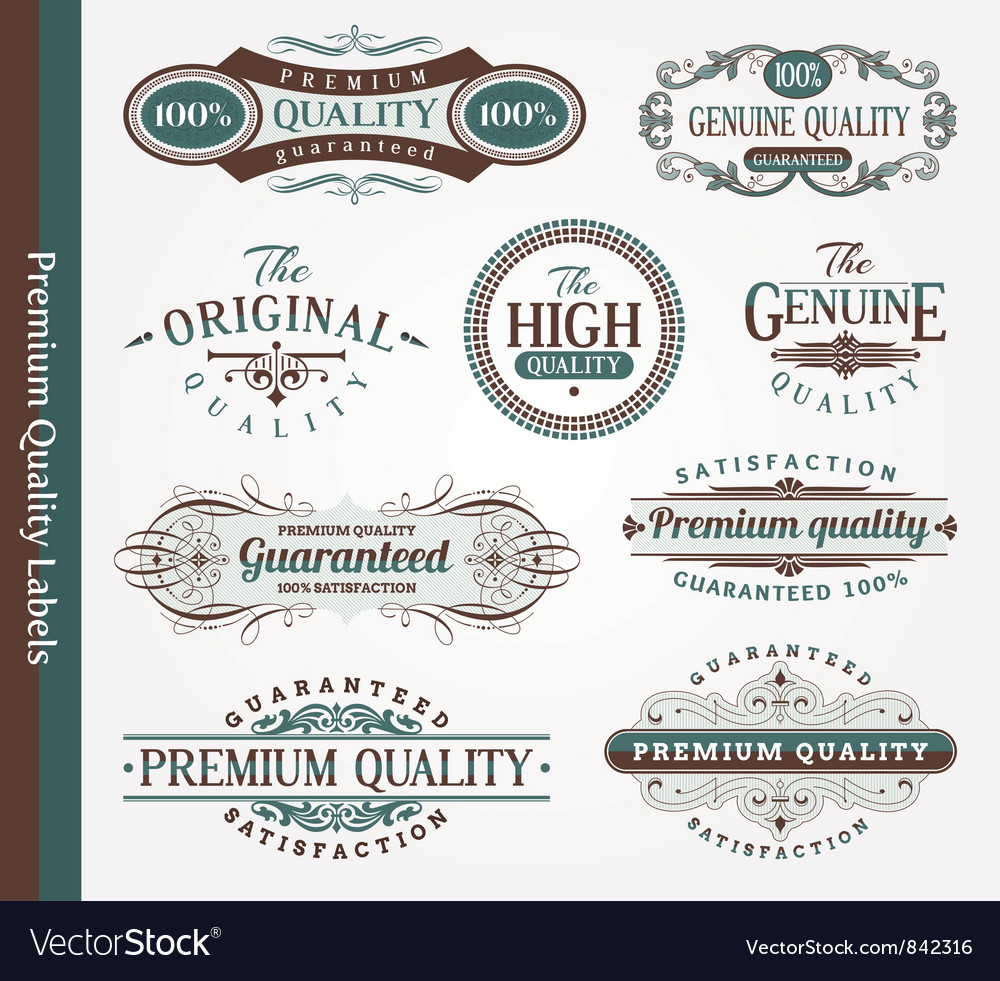 decorative labels of quality royalty free vector image