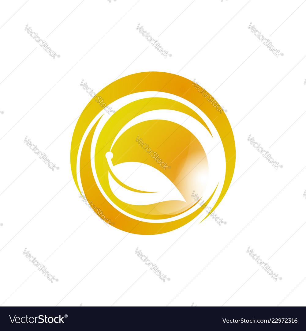 Ecology logo eco world green leaf energy saving
