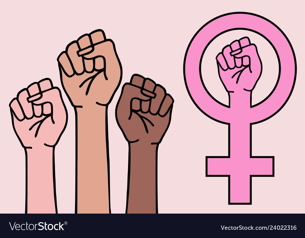 Female hands feminist sign feminism symbol