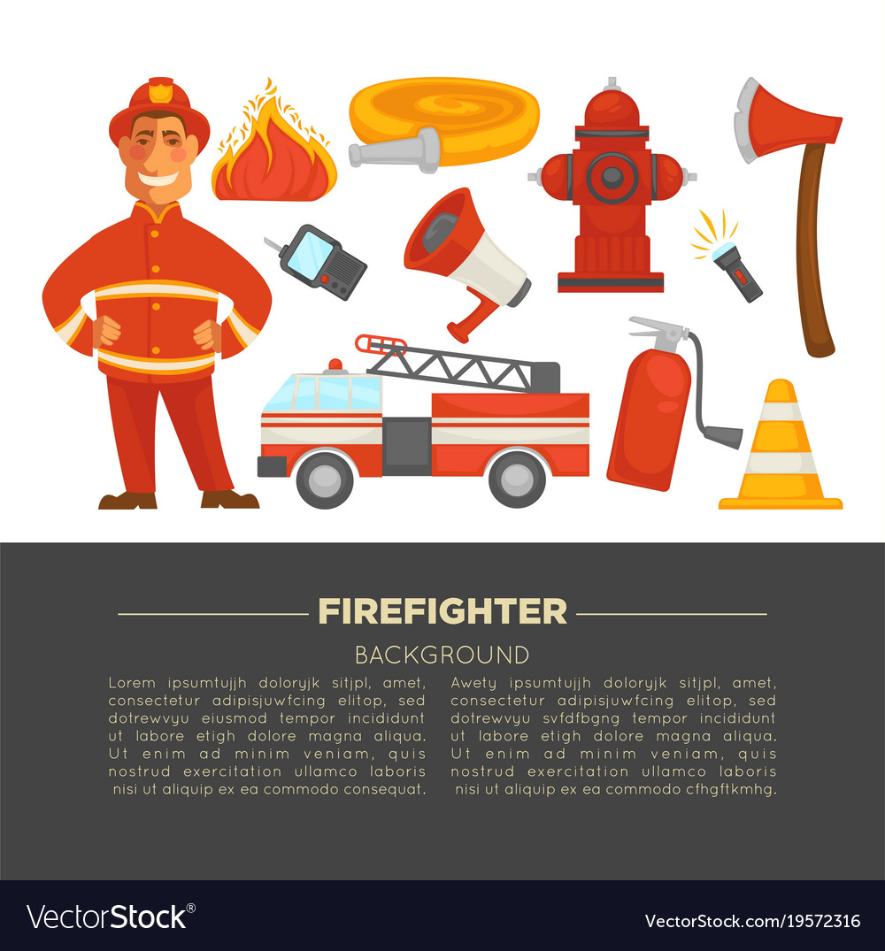Fireman profession and fire secure protection