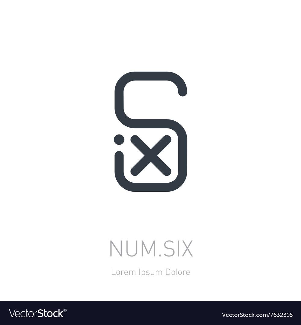 Number 6 logo template logotype or design element