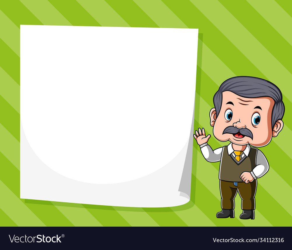 Old man standing near white blank paper