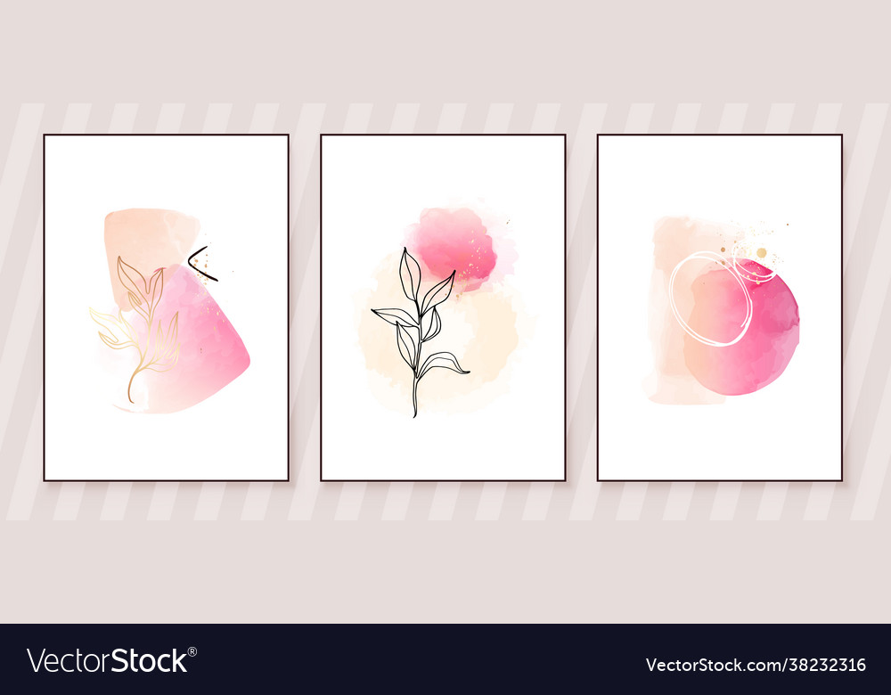 Pink and peach abstract watercolor compositions