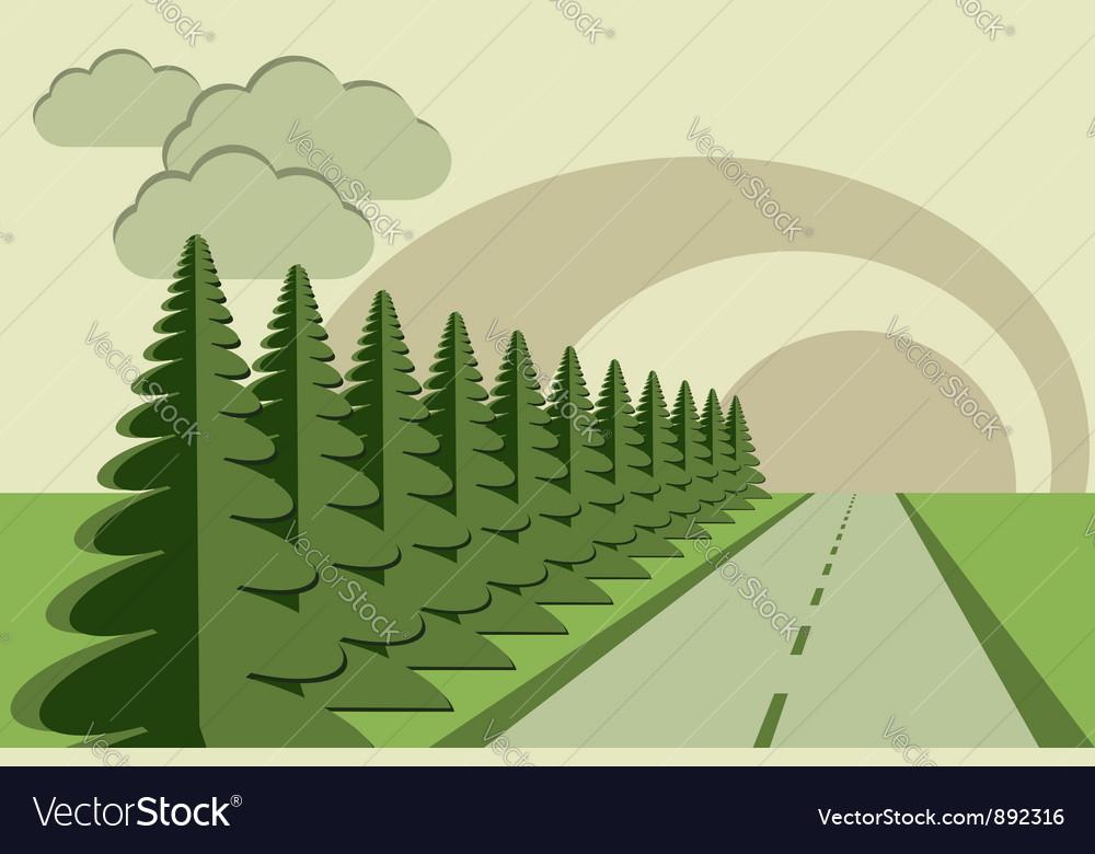 Road fir trees sky papercraft vector image